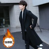 风衣男中长款外套2018新款冬季韩版帅气潮流学生超长过膝毛呢大衣