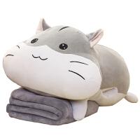 可爱趴趴仓鼠猫公仔抱枕毯睡觉抱枕娃娃毛绒玩具情人礼物懒人女孩