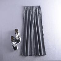 2018C0FSLL21秋冬季韩版新款高腰纯色双口袋直筒休闲裤Z