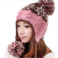女秋冬韩版保暖粉色护耳针织帽子 潮毛线帽子季滑雪帽子