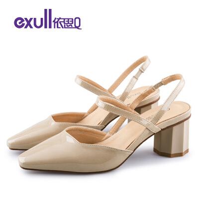 依思q秋季新款韩版镜面显瘦尖头单鞋菱形粗跟潮女鞋
