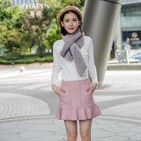 海贝2017冬装新款女装半身裙 清新甜美粉色高腰荷叶边羊毛呢短裙