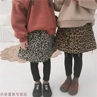 2018冬装新款儿童加绒加厚纹假两件裙裤打底裤长裤子韩国女童装