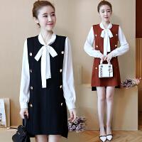 连衣裙秋装新款女长袖时尚韩版学院风长袖衬衫背心裙子两件套