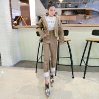 格格家 冬季新款气质时尚加厚毛绒长袖外套+高腰小脚裤灯芯绒套装
