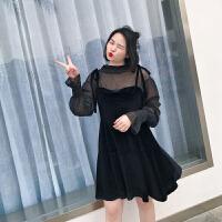 张文武2018春装新款胖mm大码女装洋气显瘦打底衫吊带连衣裙两件套 黑色