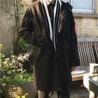 新款男士连帽中长款风衣外套 秋装学生韩版潮春秋帅气风衣男装
