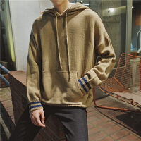 新款秋冬季韩版学院青年拼色袖宽松帽衫男长袖毛衣学生宽松外套