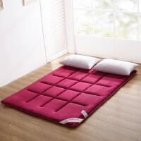 榻榻米床垫地垫可折叠打地铺睡垫 懒人1.5m床铺床褥子 珊瑚绒垫子 酒红色 【法兰绒面料】