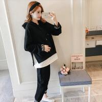 孕妇装2018秋冬装新款韩版潮妈拼接上衣托腹裤孕妇两件套套装