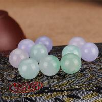 翡翠冰种紫罗兰散珠天然豆绿巴山玉石珠子半成品男女款手链项链