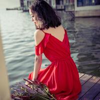 夏季新品女装修身V领漏背短袖雪纺连衣裙波西米亚海边沙滩裙短裙 红色 XZD126