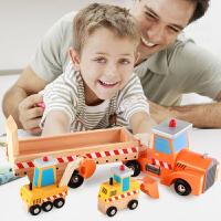 木制玩具车儿童木质工程车拆大卡车拼搭组装可滚动车轮模型套装