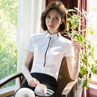 白色衬衫女短袖2018夏新款修身工作服正装灰色衬衣OL修身面试