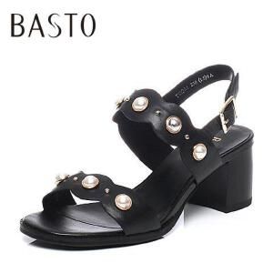 BASTO/百思图2017夏季专柜同款山羊皮气质珍珠通勤优雅粗高跟女凉鞋TCO01BL7