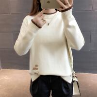 2018新款时尚潮半高领套头加厚毛衣女士春装宽松百搭长袖打底衫潮