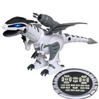 【六一新品】 儿童玩具机器人 恐龙玩具仿真动物模型大号霸王龙电动智能战龙遥控机器人男孩 机械战龙大号66厘米白色 【终