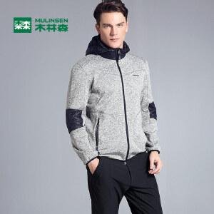 木林森男装 秋季新款开衫保暖连帽外套 摇粒绒卫衣时尚运动外套
