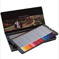 得力铁盒装48色水溶性彩铅72色学生用彩色铅笔手绘专业可溶性绘画笔套装水溶性48色纸盒装涂鸦彩色铅笔