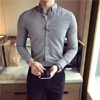 春季新款经典藏蓝细格优雅男士长袖衬衫发型师寸衫型男夜店潮