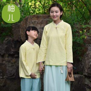 柚儿亲子 柠檬 棉麻中式唐装女童上衣儿童女孩母女装复古外套秋款