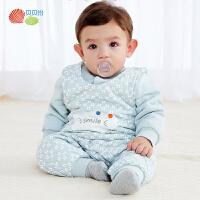 贝贝怡新生婴儿儿衣服 男女宝宝夹棉加厚保暖背带裤套装前开上衣194T516