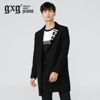 gxg.jeans男装冬季黑色长款翻领羊绒青年毛呢大衣外套潮64626207