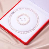 白色天然淡水珍珠项链女士手链套装母亲节送妈妈婆婆生日礼物