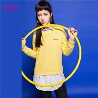 套头卫衣女春装新款韩版趣味上衣百搭长袖圆领学院风洋气小衫外穿30071551