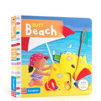 英文原版进口绘本 Busy Beach 繁忙的海滩 儿童玩具机关抽拉启蒙纸板书 0-3-6岁早教育儿趣味互动图画书 锻