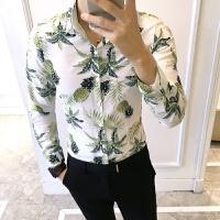 2018男士潮流长袖潮流春装新款男士个性印花长袖衬衫男韩版修身发