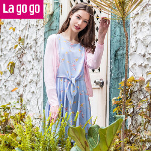 Lagogo拉谷谷2017年夏新款时尚百搭单排扣长袖针织衫GAMM803C21