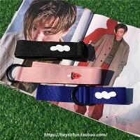 自制韩国英文字母图案印花帆布腰带男女学生编织皮带双环腰带