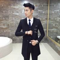 新品18春季款男士韩版修身潮流绣花西服套装青年小伙中长款西装三