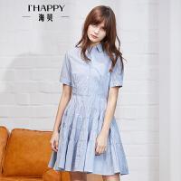 ihappy/海贝条纹短袖翻领连衣裙