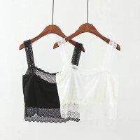 夏女装新款加肥大码胖MM200斤纯色防走光蕾丝抹胸背心吊带打底衫