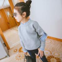 童装卫衣t恤假两件2018春秋装韩版洋气上衣女孩衣服中大童打底衫