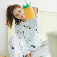 秋季纯棉睡衣女长袖菠萝家居服套装韩版清新学生加厚空气棉质秋