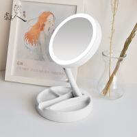 LED环形补光折叠化妆镜子台式双面便携镜宿舍家用带灯