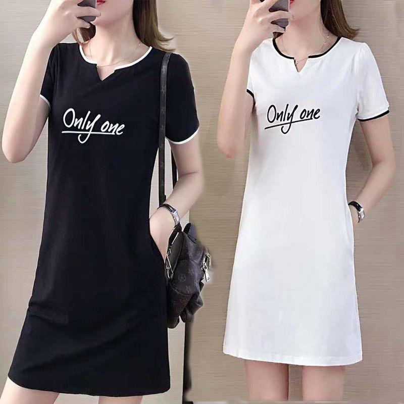 【仅限今日,满100减50】大码宽松假两件短袖条纹雪纺连衣裙中长款女装夏装新款
