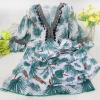 性感泳衣女士大码平角比基尼三件套长袖泡温泉韩国小香风大胸泳装 花色