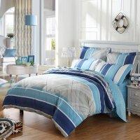 【6.7大牌日 1件5折】水星家纺 四件套全棉床上四件套简约被套床单双人蓝语床笠款