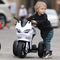 电动三轮车儿童儿童电动摩托车小孩三轮车男女宝宝玩具车充电可坐人带推把大号 白色单驱动小电瓶无推把 音乐早教
