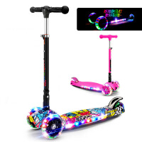 儿童可折叠闪光音乐滑板车男孩女孩户外三轮滑滑车
