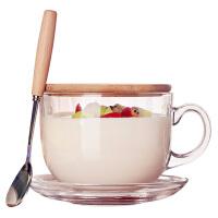 大容量日式马克杯带盖勺牛奶杯早餐杯玻璃麦片杯麦片碗杯子燕麦杯