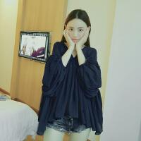 2018夏季新款长袖韩版短款女装灯笼袖上衣V领宽松超仙显瘦雪纺衫