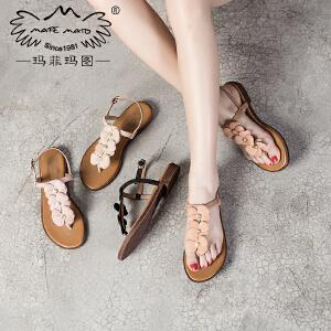 玛菲玛图 夏天拖鞋女时尚外穿新款学生英伦凉鞋花朵复古罗马纯手工女鞋2611-6D
