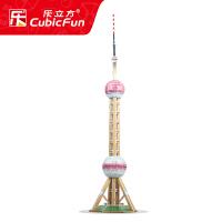 儿童3D立体纸模纸板拼图玩具 名建筑上海东方明珠塔DIY拼装模型