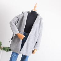 C0A@20 1.7斤2018春季新韩版女装连帽拉链女式中长毛呢外套
