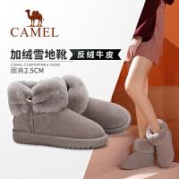 骆驼女鞋2019新款冬季加绒厚底雪地靴女可爱毛毛鞋平底保暖短靴女